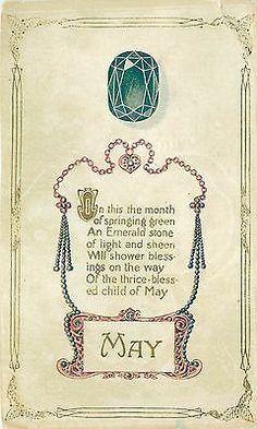 Vintage Postcard May Birthday Greetings Birthstone Emerald Poem | eBay