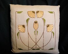 Hand Embroidered Silk, Arts and Crafts Craftsman Style, Carrie Garden Pillow
