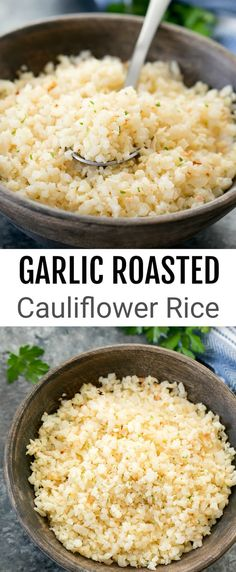 An easy and flavorful low carb rice substitute. An easy and flavorful low carb rice substitute. The cauliflower develops a unique nutty and sweet flavor when it i Low Carb Veggie, Low Carb Rice, Rice Recipes For Dinner, Vegetable Recipes, Low Carb Recipes, Cooking Recipes, Healthy Recipes, Frango Chicken, Rice Substitute