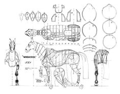 The 'War Horse' puppet Joey existed paper before hitting big stage. Marionette Puppet, Puppets, Puppetry Theatre, Puppet Making, The Uncanny, Cosplay Diy, Animal Costumes, Dark Horse, Art Lessons