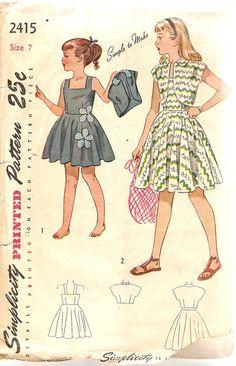 1940s Girls Sundress Pattern Bolero Jacket by CherryCorners, $20.00