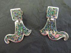 Vintage Mexican Margot de Taxco Sterling Silver & Confetti Earrings #Taxco