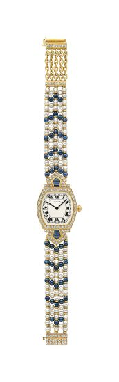 Cartier - A Diamond, Sapphire, and Cultured Pearl Lady's Wristwatch. Of mechanical movement, the white dial, with black Roman numerals and black hands, within a circular-cut diamond and step-cut sapphire bezel, to the cultured pearl and sapphire bead bracelet and circular-cut diamond clasp, mounted in 18K yellow gold.