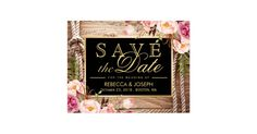 Save the Date Western Rustic Country Wood Floral Postcard Country Wedding Save the Date Invitations.