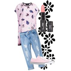 Casual/kawaii by lilly-yeah on Polyvore featuring polyvore, fashion, style, Louise Coleman, MANGO and Converse