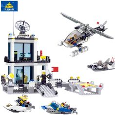 Educational DIY Bricks Toys Police Station Building Blocks Model Helicopter Speedboat Compatible famous brand City Kids Toys