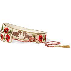 Stella McCartney Embroidered cotton-canvas waist belt (830 NZD) ❤ liked on Polyvore featuring accessories, belts, white, tassel belt, horse belt, waist belt, embroidered belt and white braided belt