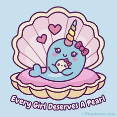 Sweet Narwhal Inside Sea Shell Hugs A Cute Pearl Whale Cartoon Drawing, Narwhal Drawing, Narwhal Tattoo, Cartoon Drawings, Cute Animal Drawings Kawaii, Kawaii Drawings, Kawaii Art, Cute Drawings, Cute Pastel Wallpaper