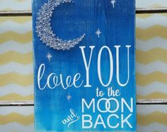 String Art Moon, I Love You to the Moon and Back, Nursery Wall Hanging, Moon and…