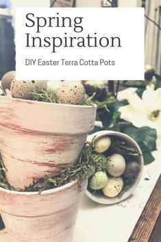 Turn dollar store TerraCotta pots into the perfect Easter table top display, Farmhouse Easter Decor, Hobby Lobby Easter Decor