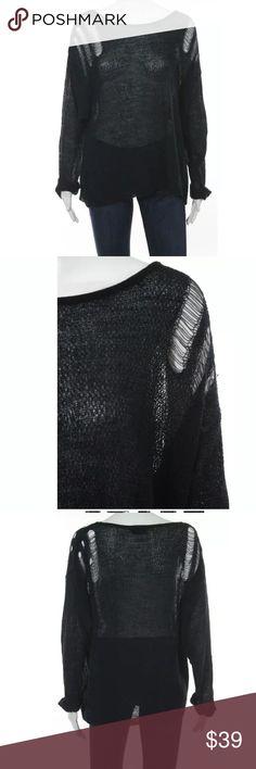 TOPSHOP navy blue sheer lightweight sweater sz 2 Navy blue sheer lightweight size 2 Topshop Sweaters Crew & Scoop Necks