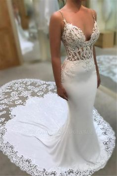 72d71cda3 This beautiful Mermaid Spaghetti Sleeveless Appliqued Lace Court Train Wedding  Dresses will make your guests say wow. The bodice is thoughtfully lined, ...