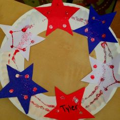 Fourth of July craft. Executive functioning skills for gathering materials, anticipating challenges and time required, and organizing steps. Summer Crafts For Toddlers, Craft Activities For Kids, Toddler Crafts, Art For Kids, Craft Ideas, Kids Fun, Summer Activities, 4th July Crafts, Patriotic Crafts