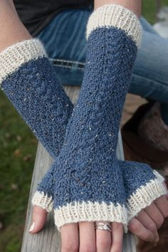 Blue Spruce and Cream Cabled Fingerless Gloves Blue Spruce, How To Look Classy, Leg Warmers, Fingerless Gloves, Cold Weather, Tweed, Cable, Cream, Knitting