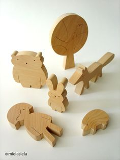 Wooden toy set Girl and forest animals Woodland by mielasiela