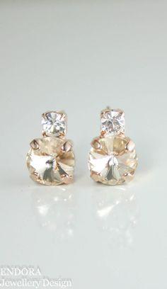 Swarovski light silk rivoli earring | champagne crystal earrings | stud earrings | crystal stud earrings | petite crystal earrings | www.endorajewellery.etsy.com