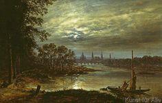 Johann Christian Clausen Dahl - Blick auf Dresden im Mondschein