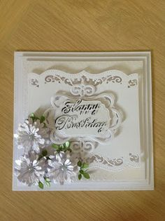 Ab Fab Designs: White on White 50th Birthday Cards, Birthday Cards For Women, Birthday Greeting Cards, Card Making Inspiration, Making Ideas, Marianne Design Cards, Shabby Chic Cards, Spellbinders Cards, Shaped Cards