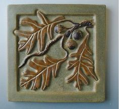 Arts and Crafts style oak leaves and acorn tile Ceramic Pottery, Pottery Art, Ceramic Art, Craftsman Tile, Craftsman Decor, Craftsman Interior, Craftsman Homes, Bungalow Homes, Craftsman Bungalows