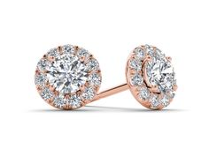 14k Rose Gold 1.20 ct Round Cut D/VVS1 Solid Stud Earrings Jewelry #Stud