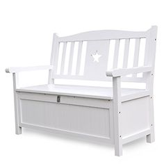 Outdoor Storage Benches - Songsen 4 Feet Wooden Storage Bench With Arm And Back Garden Storage Bench Chest Indoor Shoe Cabinet Chair White >>> Click image to review more details. (This is an Amazon affiliate link)