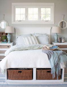 Bedroom Storage Ideas with Brown Wicker Baskets
