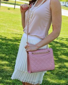 Blush & White - Pleated Skirt - Pearls - Tory Burch Pink Quilted Fleming - Ballerina - Dress Beautifully Fashion Blog