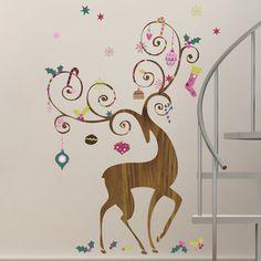 Room Mates 46 Piece Seasonal Ornamental Reindeer Peel and Stick Giant Wall Decals Set