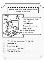 English worksheet: This cat
