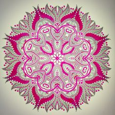 Kleuren voor volwassenen, roze mandala rekening in het zwart, roze en wit. Vanuit het enige echte mandala kleurboek. Colors for adults, pink mandala account in black, pink and white. From the only real mandala coloring book.