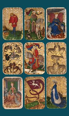 The World in Play | Luxury cards, 1430—1540 at the Met Museum, Jan 20—Aprill 17, 2016 Clockwise, from top left: Under Knave of Ducks, King of Falcons, Queen of Stags, Five of Stags, Under Dame of Stags, Banner (Ten) of Hounds, Queen of Hounds, Seven of Hounds, King of Ducks, from The Stuttgart Playing Cards, ca. 1430. German, Upper Rhineland. Paper (pasteboard) with gold ground and opaque paint over pen and ink. Landesmuseum Württemberg, Stuttgart