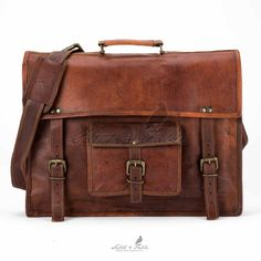 This classic leather messenger bag design gets an update for modern necessities – namely your notebook computer or tablet device. Internal padding protects without taking up space, and the top cover f