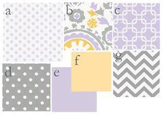 Custom 2 piece Baby Bedding Set--Crib Skirt & Sheet (Lilac, Gray, and Butter). $190.00, via Etsy.