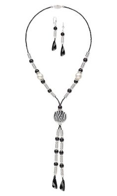 Single-Strand Necklace and Earring Set with Swarovski Crystal, Silver-Plated Brass Beads and Glass Bead