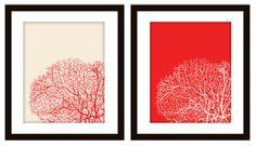 Bathroom Sea Coral Art Prints (Set of 2)