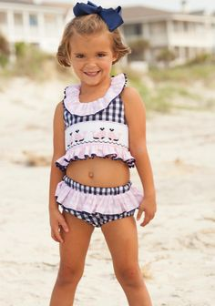 whale bathing suit girls hand smocked ruffles navy pink swimsuit