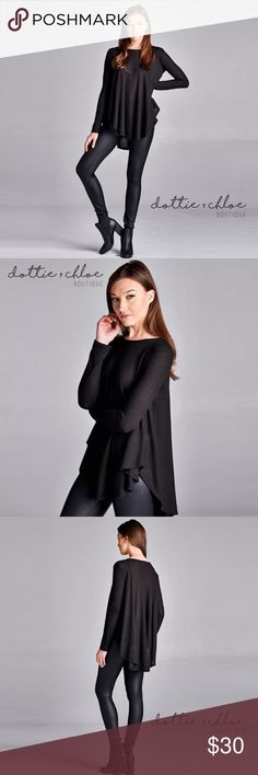 """Long Sleeve Drapey Thermal Top Rated 5 ⭐️  Loose fit, hi-low, rounded hem, princess seams.  Medium weight thermal knit fabric that is soft and drapes well and has good stretch.   50% polyester, 50% rayon  Measurements Small:     20"""" bust / 30"""" length Medium: 21"""" bust / 30"""" length Large:     22"""" bust / 31"""" length   Made in USA   ⭐️ No trades.  ⭐️ Price is firm unless bundled. dottie + chloe Tops Tunics"""