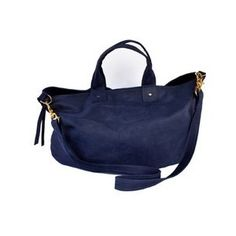 simple leather tote. love the navy