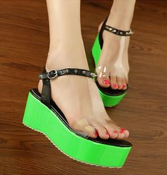 Casual Wedge High Heel Green PU Basic Sandals_Sandals_Womens Shoes_Cheap Clothes,Cheap Shoes Online,Wholesale Shoes,Clothing On lovelywholesale.com - LovelyWholesale.com