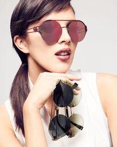 132b07355f Versace Round Rimless Open-Temple Sunglasses Versace Sunglasses
