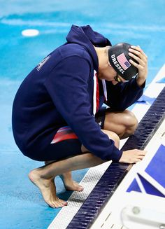 #RIO2016 Caeleb Dressel of the United States prepares in the Men's 100m Freestyle Final on Day 5 of the Rio 2016 Olympic Games at the Olympic Aquatics Stadium...
