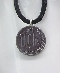 Small Mexican Coin Necklace 10 Centavos Leather Cord