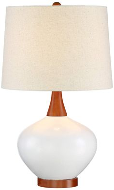 Brice Mid-Century Modern 23-Inch-H Ivory Ceramic Table Lamp - #EU9H567 - Euro Style Lighting