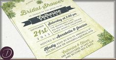 Rustic Succulent Invitations that are poster style, trendy and hip! Digital Files or Professionally Printed :)