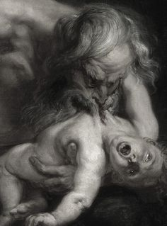 Peter Paul Rubens, Saturn Devouring His Son (detail), 1636 @Brianna Palmer Colbert, look! Terrifying.