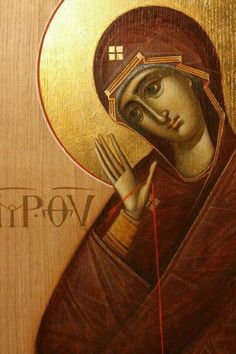 Detail of icon by Ioan & Camelia Popa Byzantine Icons, Byzantine Art, Religious Icons, Religious Art, Christian Mysticism, Sign Of The Cross, Russian Icons, Religious Paintings, Painting Studio