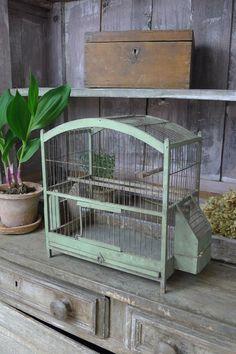 アンティーク 鳥かご(モスグリーン) French antique bird cage