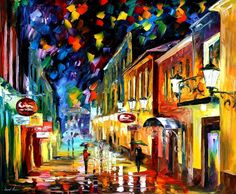 """Night etude"" by Leonid Afremov ___________________________ Click on the image…"