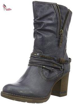 Mustang Schnür-booty, Bottes femme - noir - noir, 45 EU