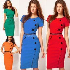 Vintage Design Bodycon Fitted Party Pencil Shift Sheath Button Dress